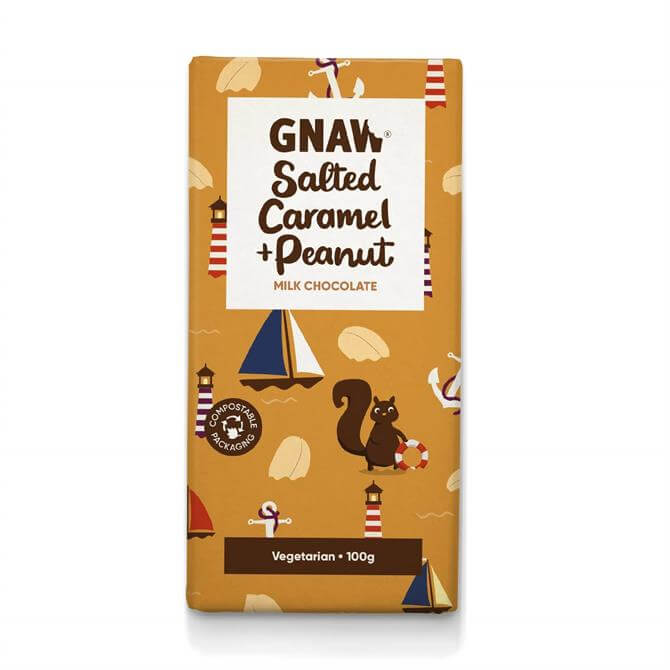 Gnaw Salted Caramel & Peanut Milk Chocolate Bar 100g